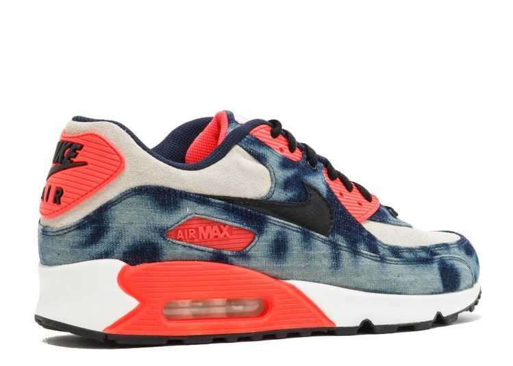 plus de photos 6587a 3dbd4 nike air max 90 denim qs lavage infrarouge pas cher 700875-400 minuit  marine noir et blanc infrarouge